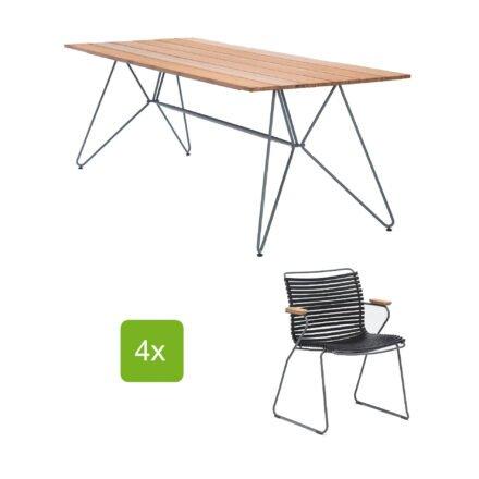 """Houe Gartentisch """"Sketch"""" 220x88 cm mit 4 Stühlen """"Click"""", Lamellen schwarz"""