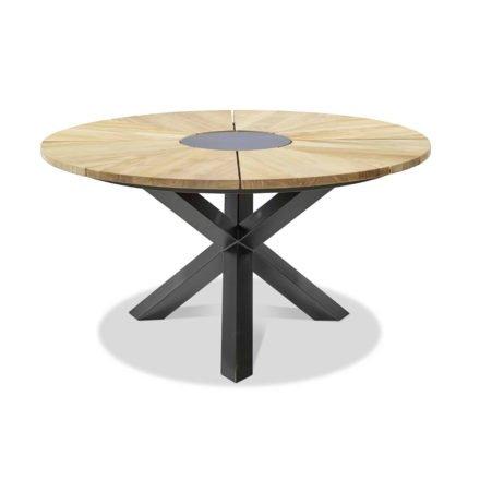 """Musterring Freilicht """"England"""" Gartentisch, Gestell Aluminium anthrazit, Tischplatte Teakholz gebürstet, Durchmesser: 140 cm"""