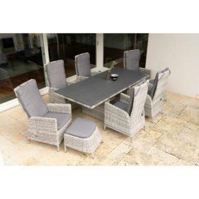 """Ploß Dining-Set 9-tlg. """"Miami"""" bestehend aus einem Dining-Tisch, sechs Dining-Sesseln und zwei Fußhocker"""