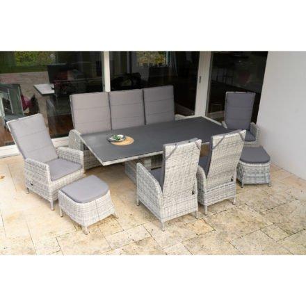 """Ploß Dining-Set 8-tlg. """"Miami"""" bestehend aus einem Dining-Tisch- einem Sofa 3-sitzig, vier Dining-Sesseln und zwei Fußhocker"""
