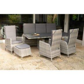 """Ploß Dining-Set 5-tlg. """"Miami"""" bestehend aus einem Dining-Tisch, einem Sofa 3-sitzig, drei Dining-Sesseln und einem Fußhocker"""
