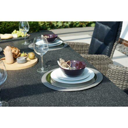 """Ploß Diningtisch """"Rocking"""", Geflecht grau-braun meliert, Tischplatte Glas in Steinoptik, Diningsessel """"Rocking"""""""
