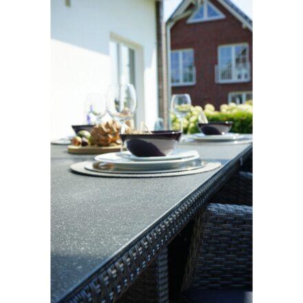 """Ploß """"Rocking"""" Diningtisch, Geflecht grau-braun meliert, Tischplatte Glas in Steinoptik"""