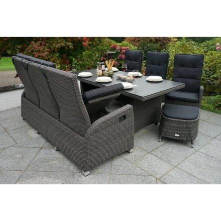 """Ploß Dining-Set 6-teilig """"Rocking"""" bestehend aus einem Dining-Tisch, drei Dining-Sesseln, einem 3-Sitzer-Sofa und einem Fußhocker"""