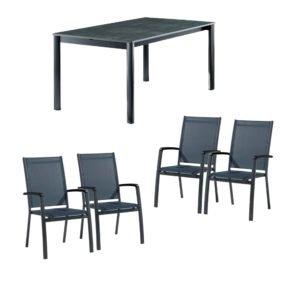 """Sieger Gartenmöbel-Set mit vier Stapelsessel """"Bodega"""" und einem Ausziehtisch, Gestell Alu eisengrau, Textilen silbergrau, Tischplatte Vivodur Beton dunkel"""