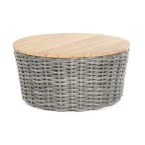 """SonnenPartner Loungetisch """"Sands"""", Gestell Aluminium, Geflecht Polyrattan Charcoal, Tischplatte Teakholz"""