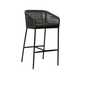 """Stern Barhocker """"Greta"""", Gestell Aluminium anthrazit, Sitz- und Rücken aus Synthetikfaser platin, inkl. Kissen in Seidengrau"""