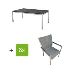 """Stern Gartenmöbel-Set mit 6 Stühlen """"Polaris"""", Textilen karbon, Armlehne schwarz und Tisch Edelstahl, Tischplatte HPL Beton dunkel"""