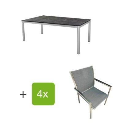 """Stern Gartenmöbel-Set mit 4 Stühlen """"Polaris"""", Textilen karbon, Armlehne schwarz und Tisch Edelstahl, Tischplatte HPL Beton dunkel"""