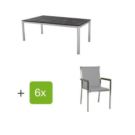 """Stern Gartenmöbel-Set mit 6 Stühlen """"Polaris"""", Textilen kaschmir, Armlehne Teak und Tisch Edelstahl, Tischplatte HPL Beton dunkel"""