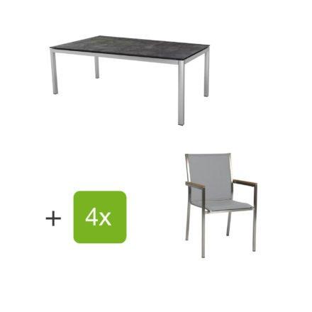 """Stern Gartenmöbel-Set mit 4 Stühlen """"Polaris"""", Textilen kaschmir, Armlehne Teak und Tisch Edelstahl, Tischplatte HPL Beton dunkel"""