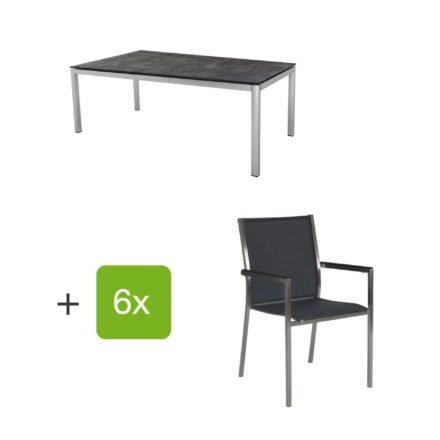 """Stern Gartenmöbel-Set mit 6 Stühlen """"Polaris"""", Textilen silbergrau, Armlehne schwarz und Tisch Edelstahl, Tischplatte HPL Beton dunkel"""