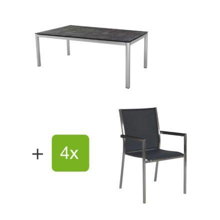 """Stern Gartenmöbel-Set mit 4 Stühlen """"Polaris"""", Textilen silbergrau, Armlehne schwarz und Tisch Edelstahl, Tischplatte HPL Beton dunkel"""