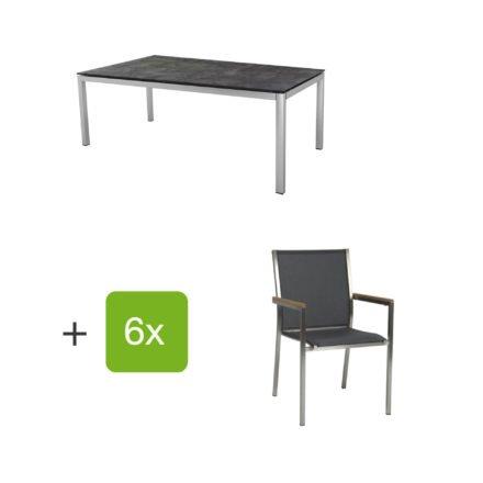 """Stern Gartenmöbel-Set mit 6 Stühlen """"Polaris"""", Textilen silbergrau, Armlehne Teak und Tisch Edelstahl, Tischplatte HPL Beton dunkel"""