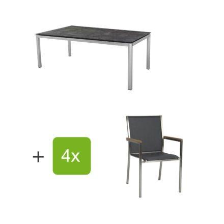"""Stern Gartenmöbel-Set mit 4 Stühlen """"Polaris"""", Textilen silbergrau, Armlehne Teak und Tisch Edelstahl, Tischplatte HPL Beton dunkel"""