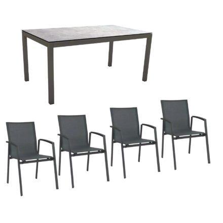 """Stern Gartenmöbel-Set mit Stuhl """"New Top"""" und Gartentisch Aluminium/HPL, Gestelle Aluminium anthrazit, Sitz Textil karbon, Tischplatte HPL Metallic Grau"""