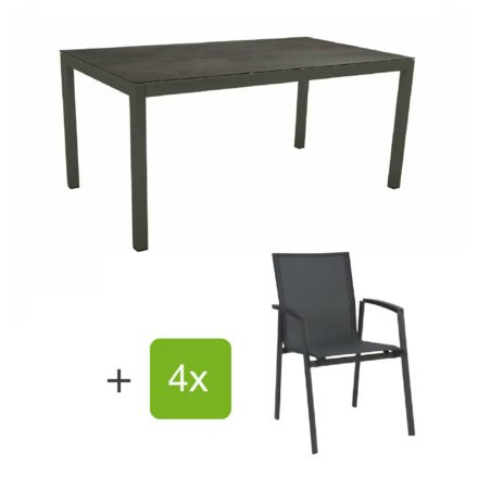 """Stern Gartenmöbel-Set mit Stuhl """"New Top"""" und Gartentisch Aluminium/HPL, Gestelle Aluminium anthrazit, Sitz Textil karbon, Tischplatte HPL Nitro"""
