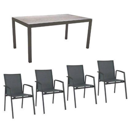 """Stern Gartenmöbel-Set mit Stuhl """"New Top"""" und Gartentisch Aluminium/HPL, Gestelle Aluminium anthrazit, Sitz Textil karbon, Tischplatte HPL Smoky"""