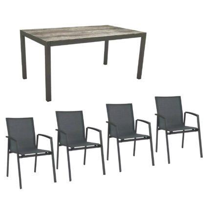 """Stern Gartenmöbel-Set mit Stuhl """"New Top"""" und Gartentisch Aluminium/HPL, Gestelle Aluminium anthrazit, Sitz Textil karbon, Tischplatte HPL Tundra Grau"""