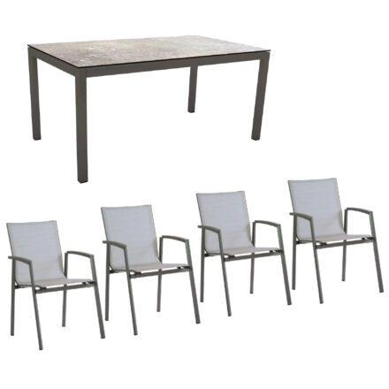 """Stern Gartenmöbel-Set mit Stuhl """"New Top"""" und Gartentisch Aluminium/HPL, Gestelle Aluminium anthrazit, Sitz Textil silber, Tischplatte HPL Vintage Stone"""