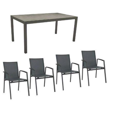 """Stern Gartenmöbel-Set mit Stuhl """"New Top"""" und Gartentisch Aluminium/HPL, Gestelle Aluminium anthrazit, Sitz Textil karbon, Tischplatte HPL Zement"""