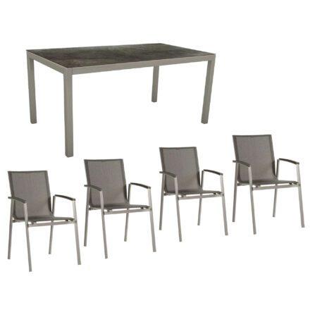 """Stern Gartenmöbel-Set mit Stuhl """"New Top"""" und Gartentisch Aluminium/HPL, Gestelle Aluminium graphit, Sitz Textil silbergrau, Tischplatte HPL Dark Marble"""