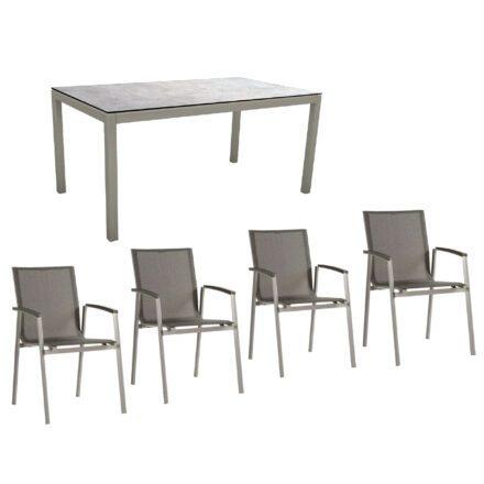 """Stern Gartenmöbel-Set mit Stuhl """"New Top"""" und Gartentisch Aluminium/HPL, Gestelle Aluminium graphit, Sitz Textil silbergrau, Tischplatte HPL Metallic Grau"""