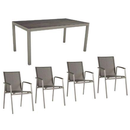 """Stern Gartenmöbel-Set mit Stuhl """"New Top"""" und Gartentisch Aluminium/HPL, Gestelle Aluminium graphit, Sitz Textil silbergrau, Tischplatte HPL Nitro"""