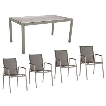 """Stern Gartenmöbel-Set mit Stuhl """"New Top"""" und Gartentisch Aluminium/HPL, Gestelle Aluminium graphit, Sitz Textil silbergrau, Tischplatte HPL Smoky"""