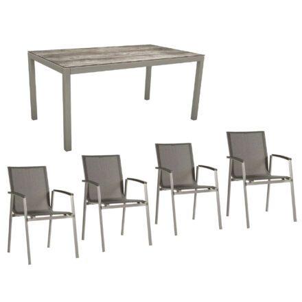 """Stern Gartenmöbel-Set mit Stuhl """"New Top"""" und Gartentisch Aluminium/HPL, Gestelle Aluminium graphit, Sitz Textil silbergrau, Tischplatte HPL Tundra Grau"""