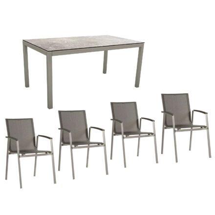 """Stern Gartenmöbel-Set mit Stuhl """"New Top"""" und Gartentisch Aluminium/HPL, Gestelle Aluminium graphit, Sitz Textil silbergrau, Tischplatte HPL Vintage Stone"""