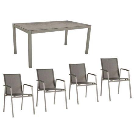 """Stern Gartenmöbel-Set mit Stuhl """"New Top"""" und Gartentisch Aluminium/HPL, Gestelle Aluminium graphit, Sitz Textil silbergrau, Tischplatte HPL Zement"""