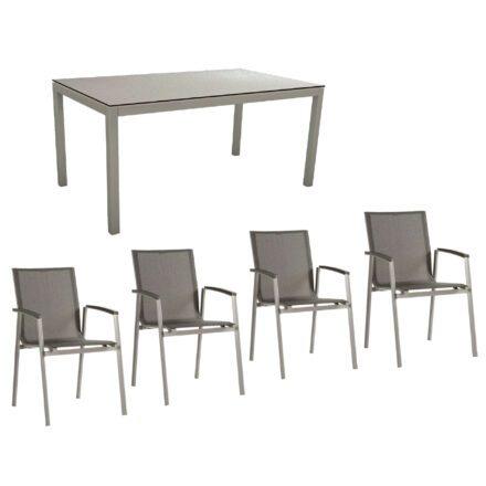 """Stern Gartenmöbel-Set mit Stuhl """"New Top"""" und Gartentisch Aluminium/HPL, Gestelle Aluminium graphit, Sitz Textil silbergrau, Tischplatte HPL Uni Grau"""