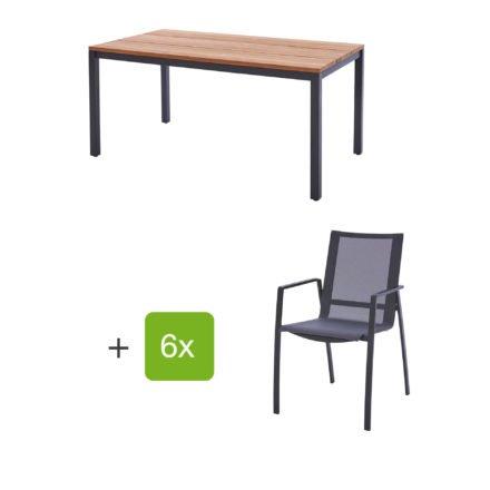 """Diamond Garden Gartenmöbel-Set mit Tisch """"Ravenna"""", Größe 210x90 cm, sowie 6 Stapelstühlen """"Valencia"""", Armlehnen Alu"""