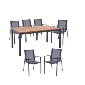 """Diamond Garden Gartenmöbel-Set mit Tisch """"Ravenna"""", Größe 210x90 cm, sowie 6 Stapelstühlen """"Valencia"""""""