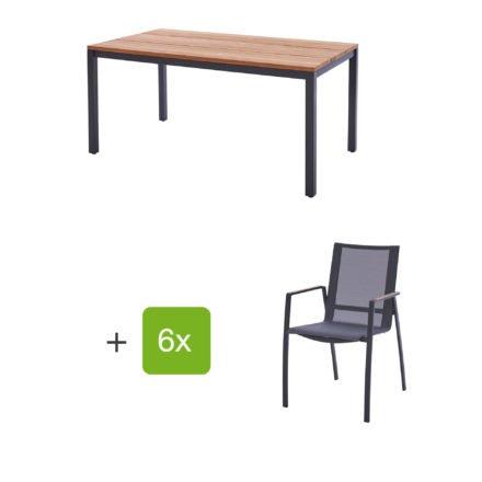 """Diamond Garden Gartenmöbel-Set mit Tisch """"Ravenna"""", Größe 210x90 cm, sowie 6 Stapelstühlen """"Valencia"""", Armlehnen Teak"""