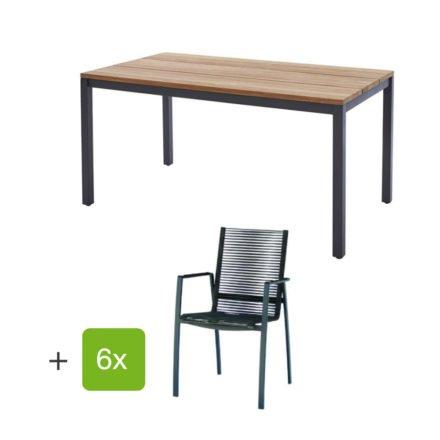"""Diamond Garden Gartenmöbel-Set mit Tisch """"Ravenna"""", Größe 210x90 cm, sowie 6 Stapelstühlen """"Valencia"""", Rope grau, Armlehnen Alu schwarz"""