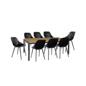 """Jati & Kebon Gartenmöbel-Set mit Tisch """"Lugo"""" 220x100cm und Schalensessel """"Galati"""""""