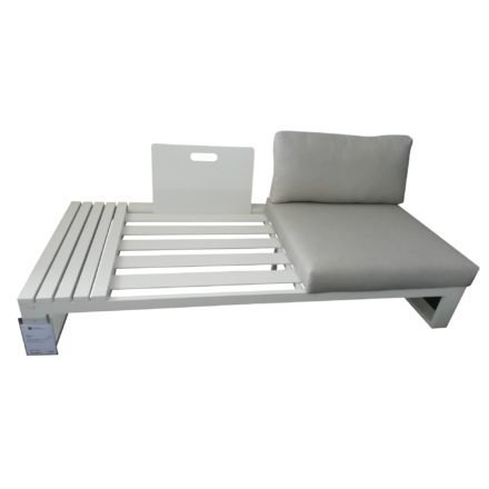 "Jati & Kebon Lounge-Seitenteil ""Virginia"", Gestell Aluminium weiß, Polster Sunbrella® silbergrau"