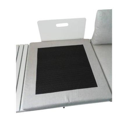 """Jati & Kebon Lounge-Seitenteil """"Virginia"""", Gestell Aluminium weiß, Polster Sunbrella® silbergrau, Rückseite der Sitzkissen mit Einsatz"""