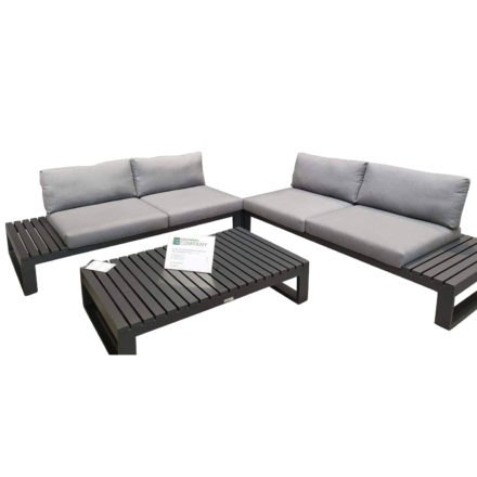 "Jati & Kebon Loungeset ""Virginia"" 3tlg., Lounge-Seitenteil rechts & links plus Loungetisch 120x75 cm, Gestelle Aluminium eisengrau, Polster Sunbrella® schiefergrau"