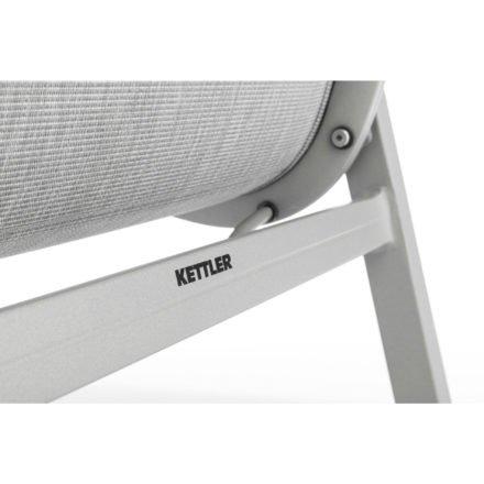 "Kettler Stapelsessel ""Basic Plus Padded"", Aluminium silber, Textilbespannung Twitchell hellgrau"