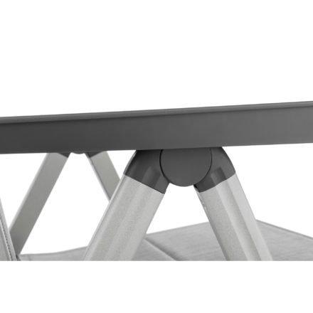 "Kettler Multipositionssessel ""Basic Plus"", Aluminiumgestell silber, Sitz-und Rückenfläche Textilen Twitchell hellgrau gepolstert"