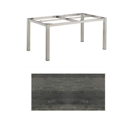 """Kettler Tischgestell 160x95cm """"Cubic"""", Edelstahl, mit Tischplatte HPL pinie-anthrazit"""