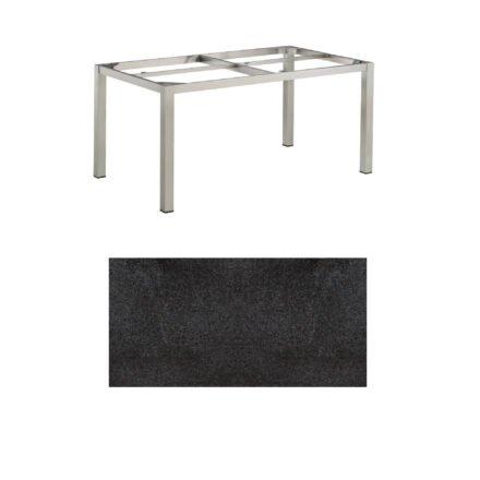 """Kettler Tischgestell 160x95cm """"Cubic"""", Edelstahl, mit Tischplatte HPL Stahl"""