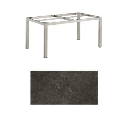 """Kettler Gartentisch, Tischgestell 160x95cm """"Cubic"""", Edelstahl, mit Tischplatte Keramik anthrazit"""