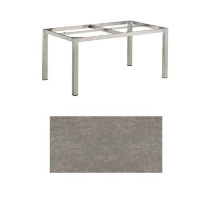 """Kettler Tischgestell 160x95cm """"Cubic"""", Edelstahl, mit Tischplatte Keramik grau-taupe"""