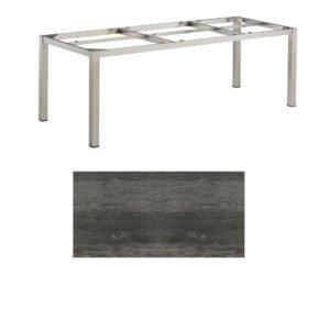 """Kettler Tischgestell 220x95cm """"Cubic"""", Edelstahl, mit Tischplatte HPL pinie-anthrazit"""