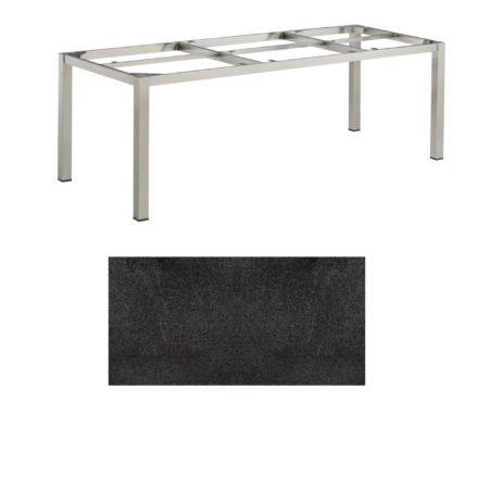 """Kettler Tischgestell 220x95cm """"Cubic"""", Edelstahl, mit Tischplatte HPL Stahl"""