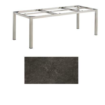 """Kettler Tischgestell 220x95cm """"Cubic"""", Edelstahl, mit Tischplatte Keramik anthrazit"""